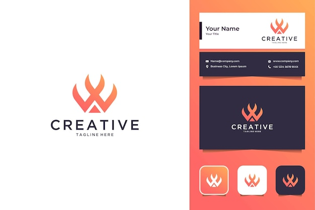 Creative modern with letter w logo design and business card