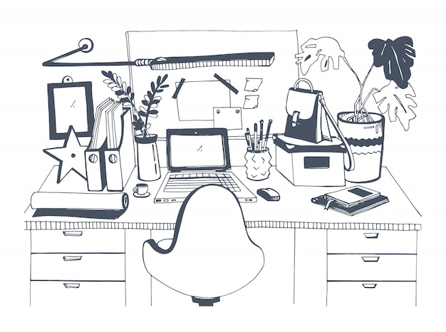 Creative modern workplace with laptop, hand drawn illustration, sketch style.