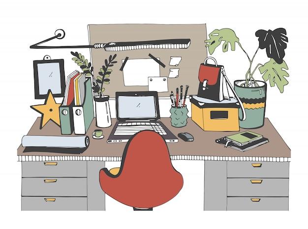 Творческое современное рабочее место с ноутбуком, рисованной иллюстрации, эскиз стиля.