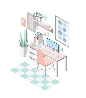 Творческое современное рабочее место с таблицей и дизайнерским компьютером, равновеликой иллюстрацией.