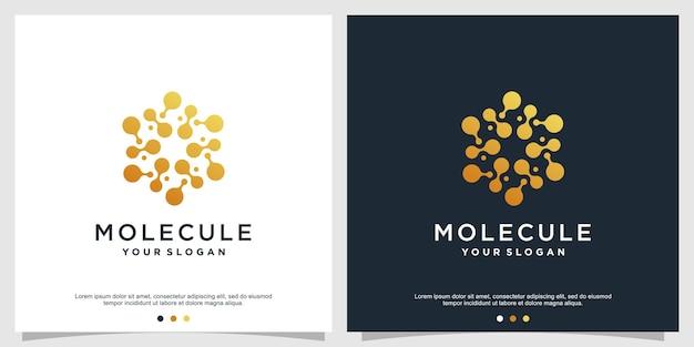 Creative molecule logo design premium vector