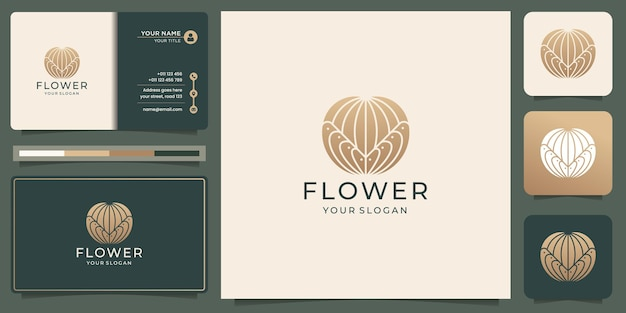 Creative mono line silhouette shape flower logo abstract with gold color and business card design.