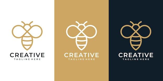 크리에이 티브 모노그램 꿀벌 로고 벡터 디자인 컬렉션