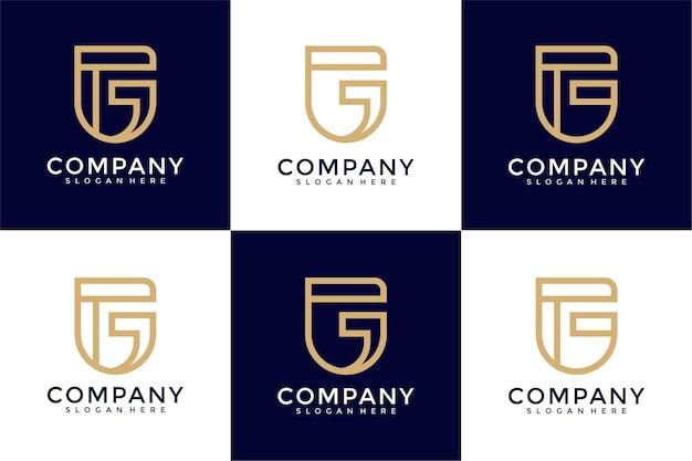 Creative monogram initials g logo design template