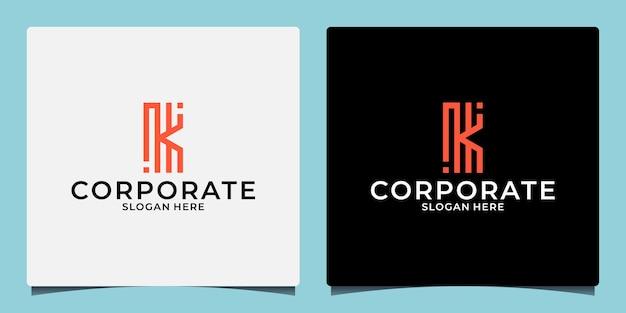 Креативный дизайн логотипа буква k с монограммой для вашего бренда