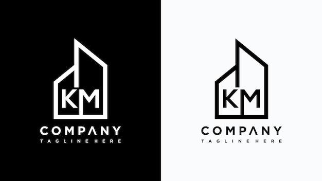 Creative monogram letter km home logo design premium vector