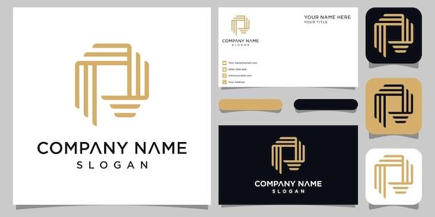 クリエイティブなモノグラム文字pロゴデザインと名刺