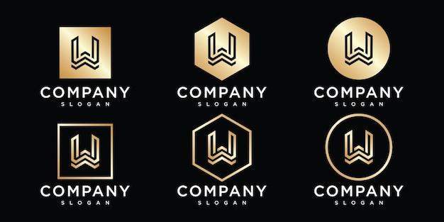 Креативная монограмма буква w логотип дизайн шаблона