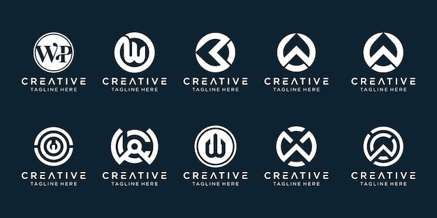 シンプルなファッションスポーツファイナンスのビジネスのためのクリエイティブなモノグラム文字wロゴアイコンセットアイコン