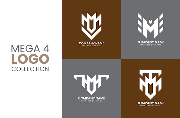 크리에이 티브 모노그램 또는 미니멀리스트 문자 m 로고 디자인 컬렉션 팩 템플릿