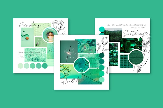 Creative mood board in green