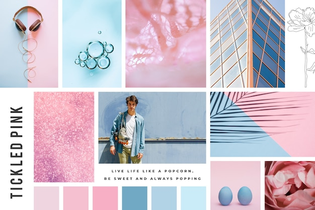 Mood board creativo in colori pastello
