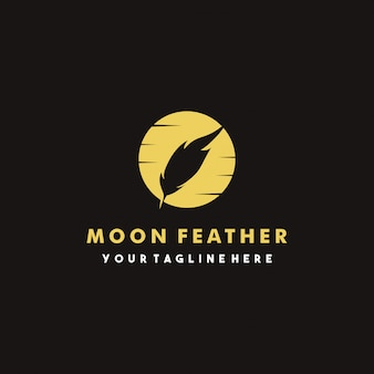 Creative moon feather logo design