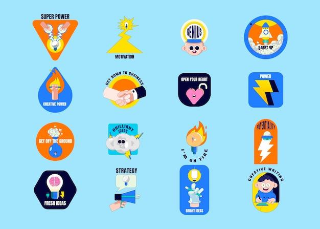 Creative motivational badge collection vector Premium Vector