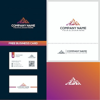 Creative mountain deer logo and business card design concept vector template