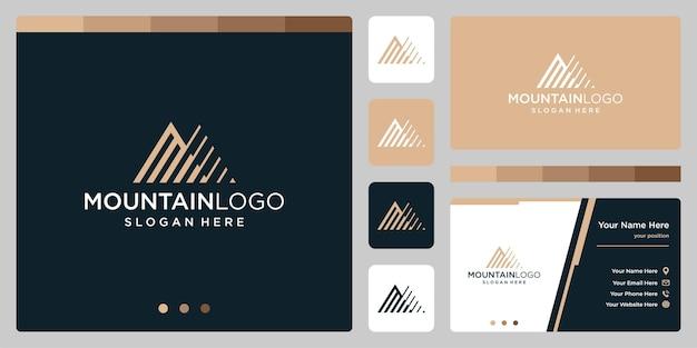 頭文字mのロゴデザインのクリエイティブな山のロゴの抽象画。プレミアムベクトル