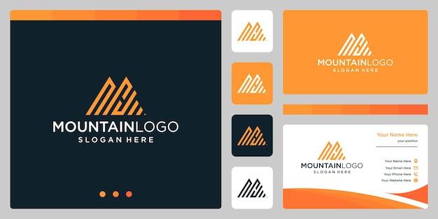 最初の文字nとhのロゴデザインで創造的な山のロゴの抽象画。プレミアムベクトル