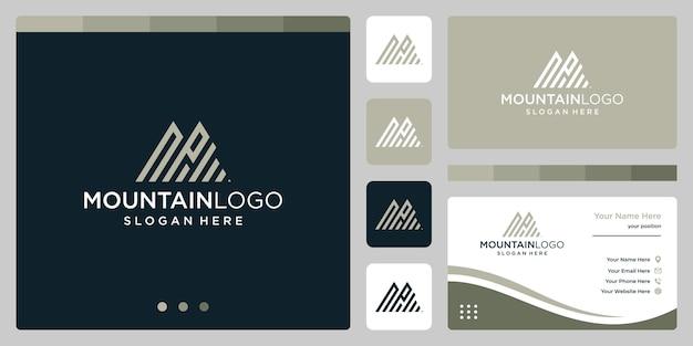 最初の文字nとpのロゴデザインでクリエイティブな山のロゴの抽象画。プレミアムベクトル