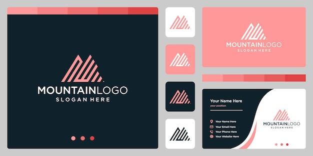 最初の文字nとwのロゴデザインでクリエイティブな山のロゴの抽象画。プレミアムベクトル