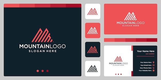 最初の文字nのロゴデザインと創造的な山のロゴの抽象。プレミアムベクトル