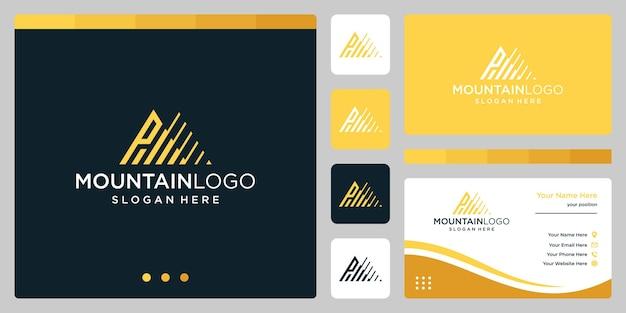 頭文字pのロゴデザインでクリエイティブな山のロゴの抽象。プレミアムベクトル