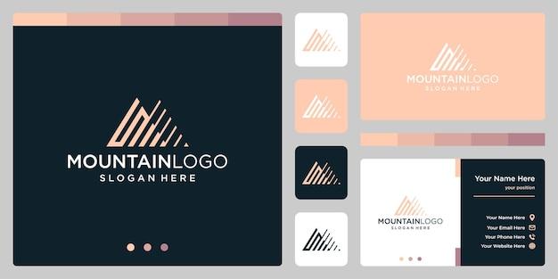 最初の文字sのロゴデザインで創造的な山のロゴの抽象。プレミアムベクトル