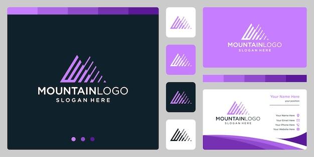 頭文字のwロゴデザインのクリエイティブな山のロゴの抽象画。プレミアムベクトル