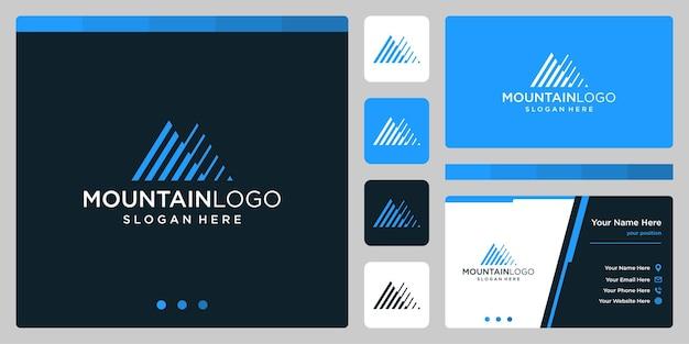 ラインアートのロゴデザインとクリエイティブな山のロゴの抽象。プレミアムベクトル