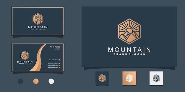 豪華なグラデーションカラープレミアムベクトルで創造的な山のロゴデザイン Premiumベクター