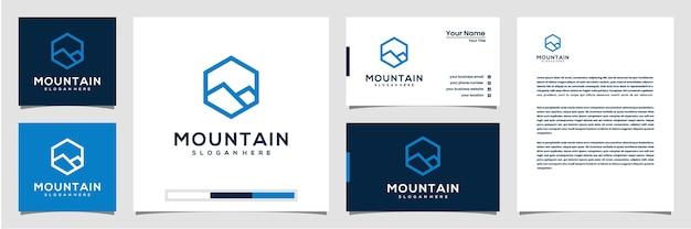 Креативный горный логотип с шестиугольником и логотипом в стиле штриховой графики, визитной карточкой и фирменным бланком