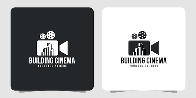 クリエイティブな映画館のロゴと建物のロゴデザイン
