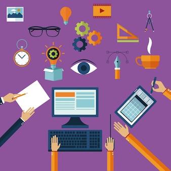 Creative multimedia ideas icons