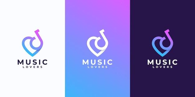 Креативный музыкальный дизайн логотипа с любовной комбинацией