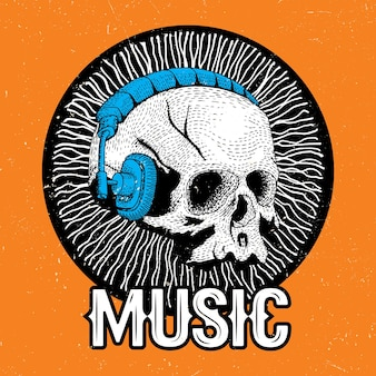 Creative music poster with funny skull in headphones on the orange illustration