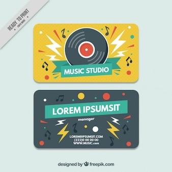 Creative music studio card with vinyl