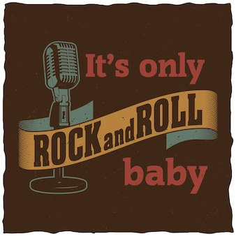 Poster musicale creativo con parole è solo rock and roll baby per il design
