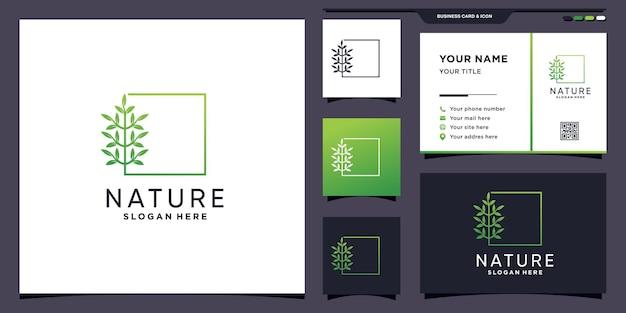 Креативный логотип дерева природы с современной линейной квадратной концепцией и дизайном визитной карточки premium векторы