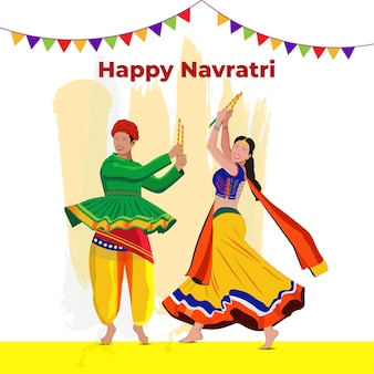 Creative navratri graba mahotsav poster design indian couple playing garba