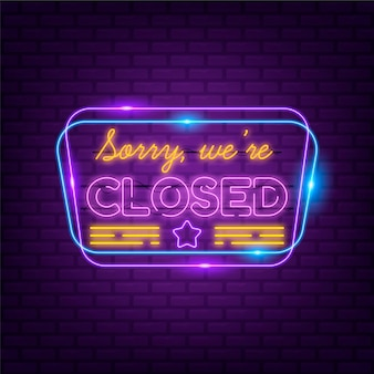 Creative neon sorry, we're closed sign Free Vector