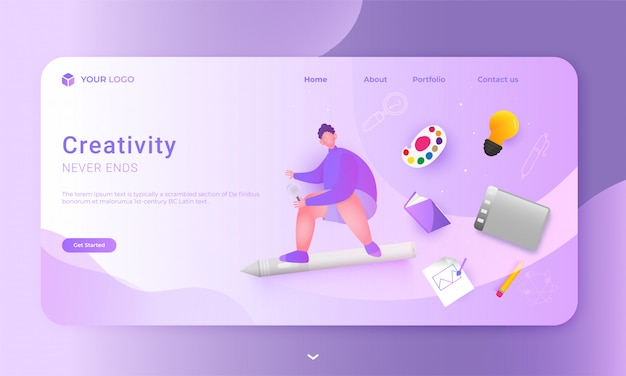Creative never ends of landing page  with man character holding magnifying glass, color palette, book, light bulb, graphic tablet and using painting brush on paper.