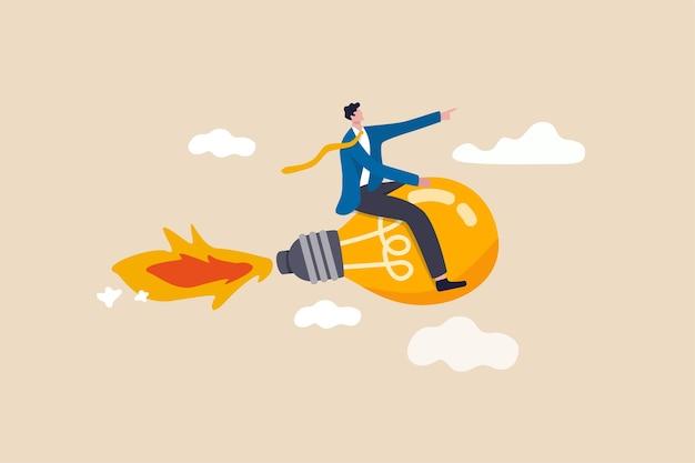 創造的な新しいアイデア、イノベーションは成功目標の概念を達成するためにビジネスやインスピレーションを開始します