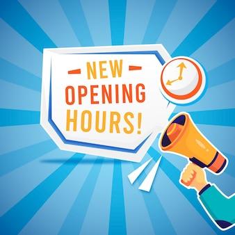 Nuovo segno creativo di orari di apertura