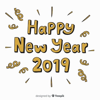 Creative new year 2019 lettering background with golden letters