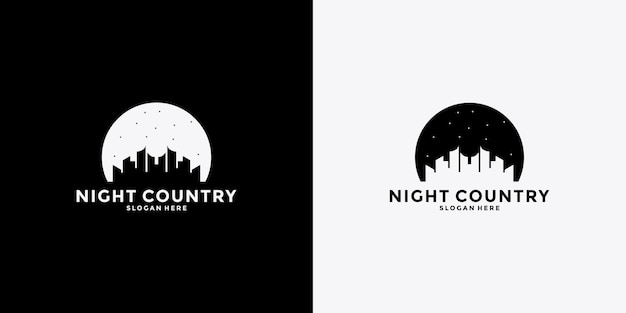 Creative night country logo design template