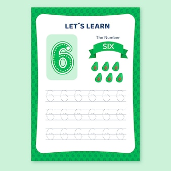 Creative number six worksheet with avocado