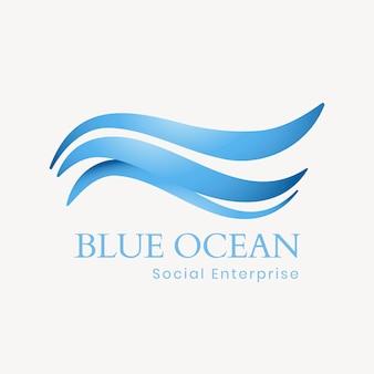 Modello di logo dell'oceano creativo, illustrazione dell'acqua per il vettore di affari