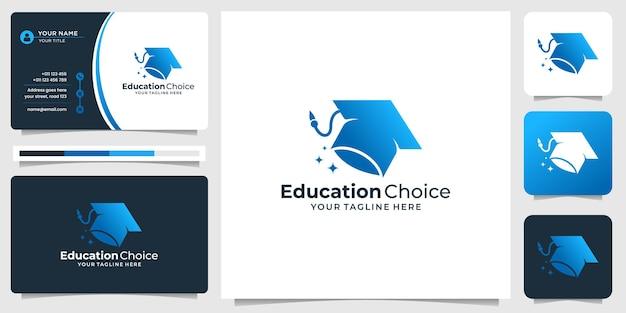 会社、現代、要素のあなたのビジネスのための矢印スペースの概念を持つ教育帽子のロゴのクリエイティブ。