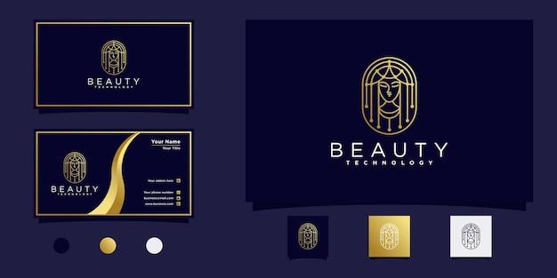 ビューティーサロンプレミアムvektoのためのハイテクモダンラインアートスタイルで女性の美しさのロゴデザインのクリエイティブ