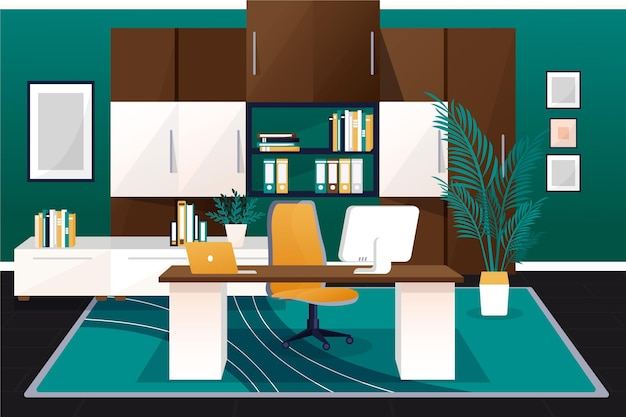 Creative office background for video conferencing