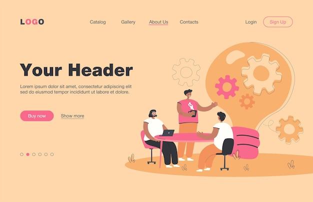チームでアイデアを話し合うクリエイティブなサラリーマンは、フラットなランディングページを分離しました。机に座って、会議、ブレーンストーミング、コワーキングをしている漫画の人々。ビジネス、協力、チームワークの概念